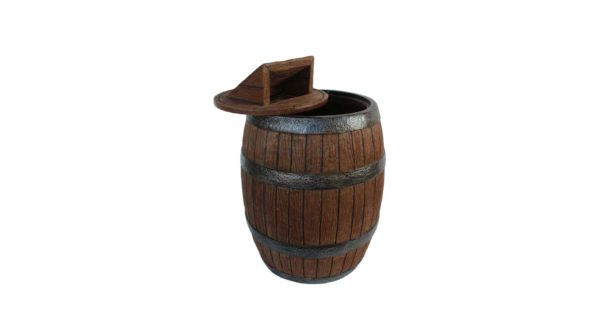 Barrel trash can