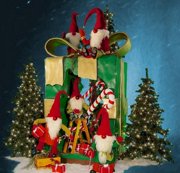 Nordic Santas with Christmas Parcel.